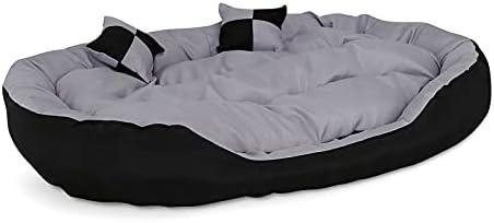 lionto by dibea Lit pour chien canapé lavable avec coussin réversible gris/noir (L) 110 x 80 cm