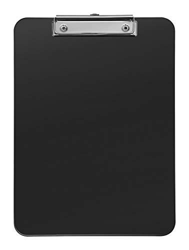 Wedo 57601 Klemmbrett (A4, Kunststoff, mit abgerundeten Ecken, vernickelte Metallklemme und Aufhängeöse) schwarz