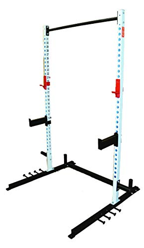 TDS Super Open Rack Gym with 5 Band Holders Each Side, Mega Jumbo Hooks and Professionally Knurled 1.25' Dia Chinning Bar, 1000 lb Capacity