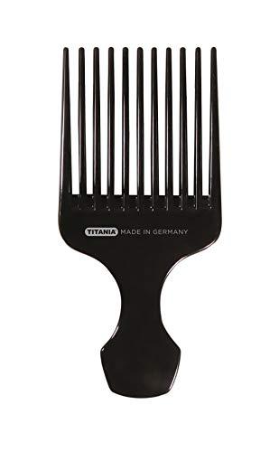 TITANIA Peigne afro, grand avec poignée, env. 15 cm, noir, 1 pack (1 x 30 g)