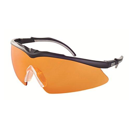 MSA Safety TecTor Opirock Ballistische Schutzbrille UV400 + Mikrofaserbeutel und Kordel, Farbe: orange
