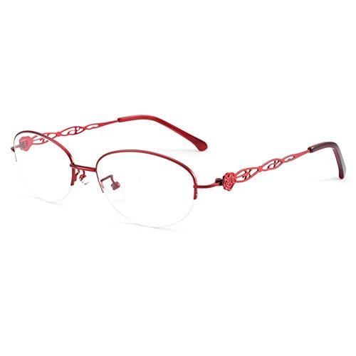 HQMGLASSES Gafas Lectura fotocromáticas con Zoom Inteligente para Mujer, bisagra Exquisita, Marco Ovalado de Metal clásico Lector para Exteriores/antideslumbrante dioptría +1.0 a +3.0,Rojo,+2.75