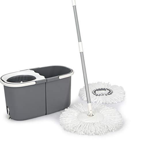 Fevilady Giro de Cubo y fregona Sytem  360 ° Auto Escurrir Spinning Mop Bucket con apilable y 2 Cabezas de la fregona de Microfibra (Color : Gray)