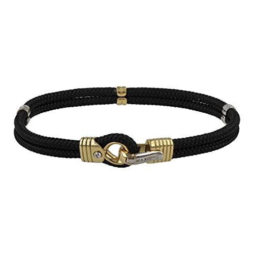 Gioiello Italiano - Pulsera de cuerda negra para hombre con oro blanco y amarillo de 18 quilates, longitud 20 cm