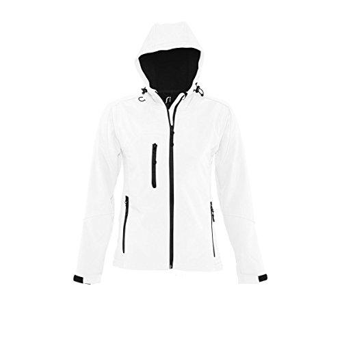 SOLS Damen Replay Softshell-Jacke mit Kapuze, atmungsaktiv, winddicht, wasserabweisend XL,Weiß