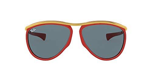 Ray-Ban Olympian Aviator Gafas, Rojo/Dorado/Azul, 59 Unisex Adulto
