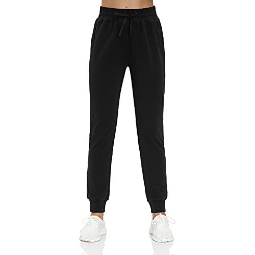 Jogginghose Damen Baumwolle Freizeithose Tainingshose Sporthose Yogahose mit Taschen Sweathose für Laufen(Schwarz,XL)