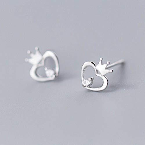 K-earings S925 Pendientes de Plata para Mujer Aretes con Forma de Corazón Y Corona de Diamantes de Moda…