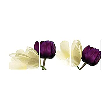 Canvas Wall Art 3 Panels Purple Yellow Flowers Floral Canvas Print Picture for Living Room Home Decorations Framed Ready to Hang