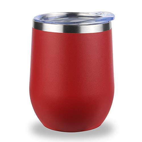 flintronic Edelstahl Weingläser, Stemless Weinglas, Edelstahl Isolierbecher mit Tassenbürste (350ml), für Wein, Kaffee, Getränke, Champagner, Cocktails - Rot