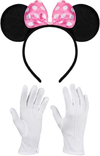 Balinco Haarreifen in schwarz mit Maus Ohren Mouse mit Schleife in rosa mit weißen Punkten inklusive weiße Handschuhe für Kinder & Erwachsene