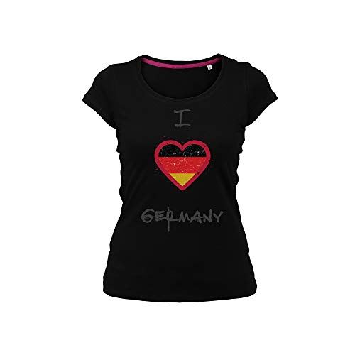 Wild Soul Tees Damen T-Shirt I Love Germany Top Country in the World Gr. Small, Schwarz