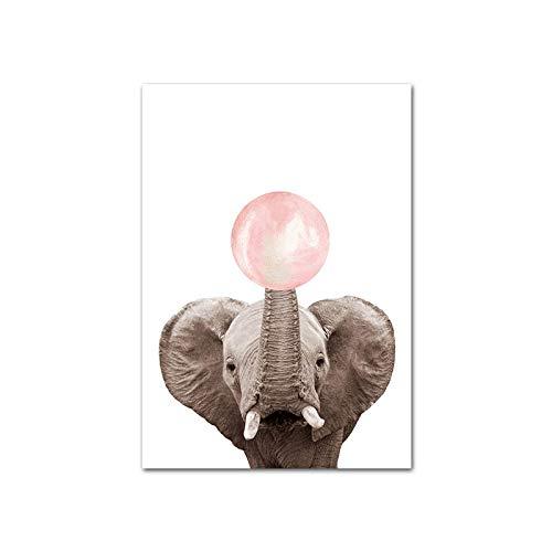Nórdico rosa burbuja dibujos animados lindo divertido elefante animal africano salvaje lienzo pintura pared arte póster impresiones guardería bebé niños dormitorio sala de estar decoración del ho