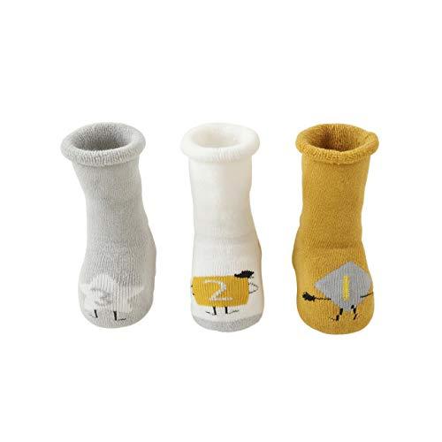 DEBAIJIA 3 Pares Calcetines Gruesos para Bebés Calcetines lindos de Algodón Antideslizante para Niños y Niñas de 3-5 años Vistoso Cálidos y Cómodos Calcetines de Invierno - L