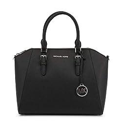 Michael Kors Ciara Large Top Zip Saffiano Leather Satchel (Black)