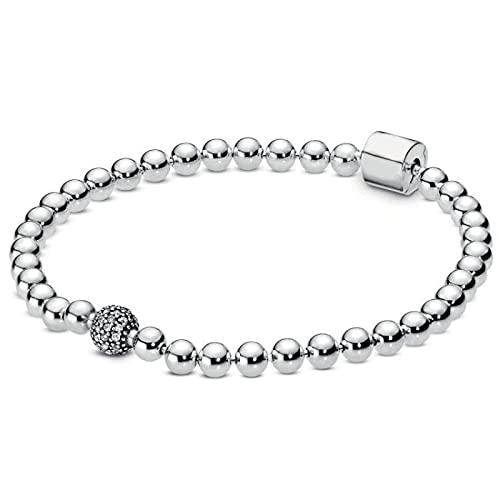Perlen & Pflaster Kristallkugel & Fassverschluss Schlangenkette Armband Fit Mode Armreif 925 Sterling Silber Charm Schmuck 19 cm