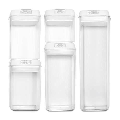 BASIL   Recipientes Almacenamiento Comida al Vacío - Juego de 5 Piezas - Cajas de Plástico Transparente para Alimentos y Tapa con Bomba - Cierre Hermético para Conservar en Armarios y Refrigeradora
