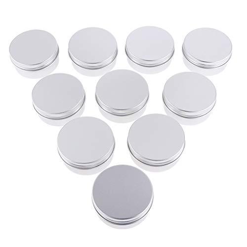 joyMerit Frascos de Lata de Aluminio, Paquete de 10, 50 Ml, Macetas Redondas con Tapa de Rosca para Crema Cosmética, Herramientas para Uñas Y Accesorios para M