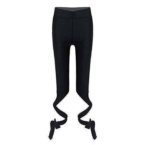 inlzdz Leggings Mallas Deportivos para Yoga Gym Gimnasia Pantalones Largos Elásticos Deporte Niñas Fitness Entrenamiento Chica Correr Negro 7-8 años