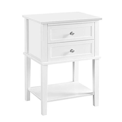 Yaheetech Nachttisch, Nachtkommode, Beistelltisch mit Schubladen und Ablage, Nachtschrank, Schlafzimmer, Wohnzimmer, einfacher Aufbau, Holz, Nordisch-Design, Weiß