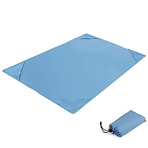 Camping Matte, wasserdichte Tasche Stranddecke Falten Camping Matte Matratze Tragbare Feste Farbe Matte Outdoor Picknick Matte Sand Strand Matte (Color : Blue, Size : 1.4 * 2M)