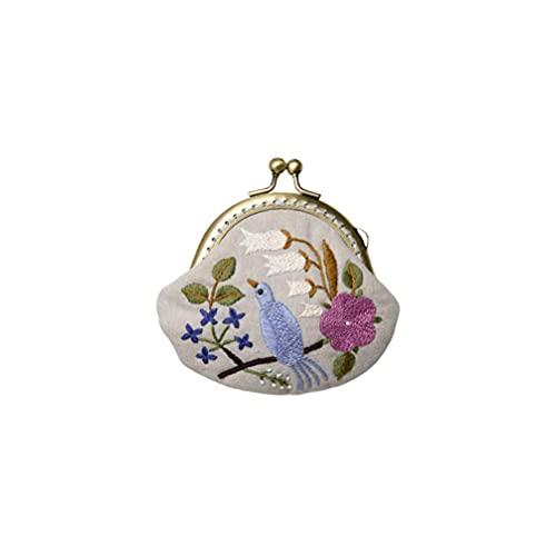 LIXBD 1 juego de monedero bordado bolsa para hacer monedero, cierre de beso, herramienta de bordado, bolsa de monedas (estilo flor púrpura) (color: imagen 4, tamaño: 10 x 3,5 x 8,5 cm)