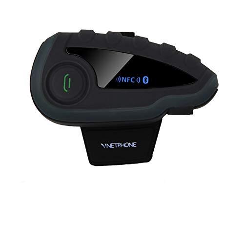 V8 Motorcycle Bluetooth Casco Intercomado sin Control Remoto 5-Way Group Talk inalámbrico Auricular Impermeable FM NFC 1.2 (Color : A)