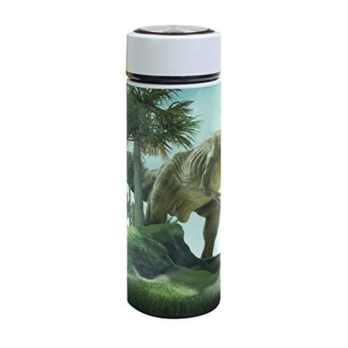 Taza de Viaje Termo de Acero Inoxidable Mantener Botella de Agua fría o Caliente Prueba de Fugas Businese Dinosaurio Gigante 3D Destruye el Parque