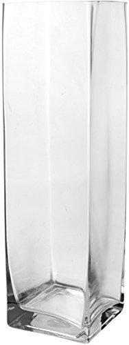 H&H Vaso Fiori in Vetro, 10x10x35 cm, Trasparente