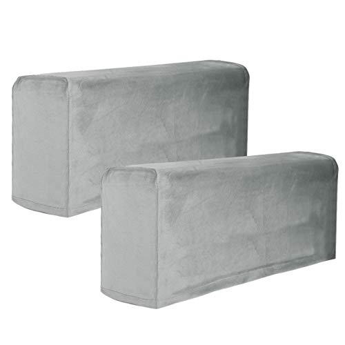 BESPORTBLE 2 Piezas de Reposabrazos de Tela Cubre Muebles Elásticos Universales Reposabrazos de Sofá Funda Protectora de Reposabrazos de Color Sólido para Oficina en Casa (Gris)