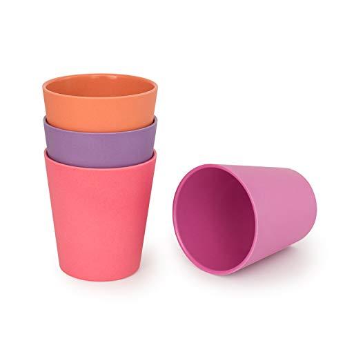 Bobo & Boo - Juego de 4 vasos de bambú ecológicos para adultos y niños de tamaño grande para niños, de bambú resistente, para el hogar, picnic y fiesta, libre de BPA, apto para lavavajillas