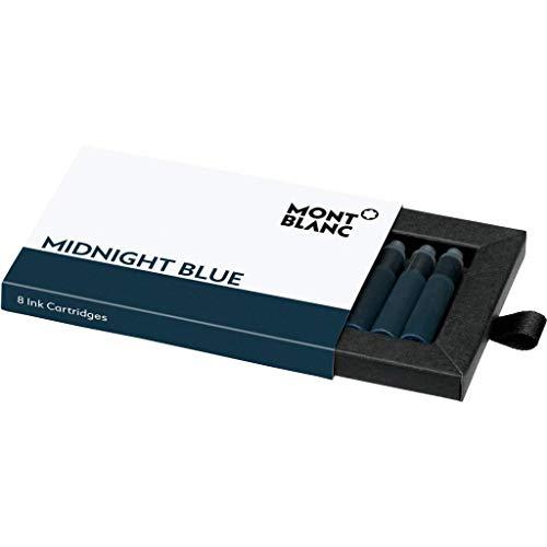 Montblanc Tintenpatronen Midnight Blue 105195 – Hochwertige Tinte für Füllfederhalter Mitternachtsblau – 1 Schachtel à 8 Füllerpatronen