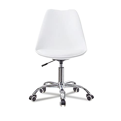 Zoyo White Desk Chair for Home Office Armless Office Chair Swivel Chairs for Desk Adjustable Height Ergonomic Conference Computer Work Chair for Kids Adults(White)
