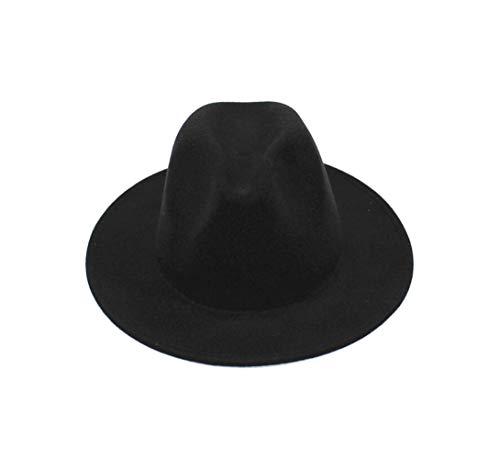 Upstore Fedora-Hut für Damen, mit breiter Krempe, Filz, flach, Schwarz