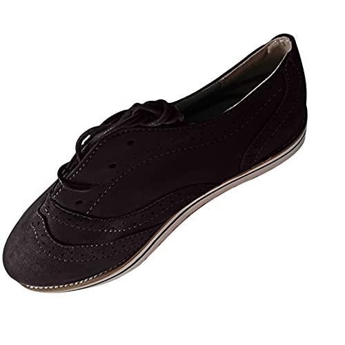 Fmkaieo Botines de mujer con tacón plano, botines de otoño vintage, con cordones, cómodos, con tacón corto, para el arco, Negro , 37 EU
