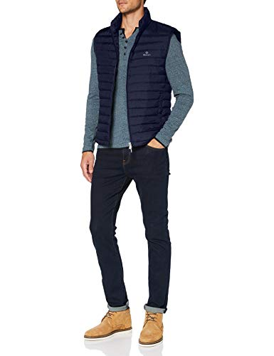 GANT Herren D1. Light Padded Gilet Jacke, Evening Blue, XXL