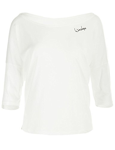 WINSHAPE Damen Dance Style, Fitness Freizeit Sport Yoga Workout 3/4-arm Shirt, Vanilla-Weiß, M