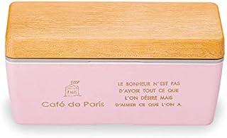 正和(Showa) 弁当箱 木目 BC ランチボックス Café de paris ピンク 1段 600ml 仕切り付き PARIS 保冷剤付き 日本製 77144