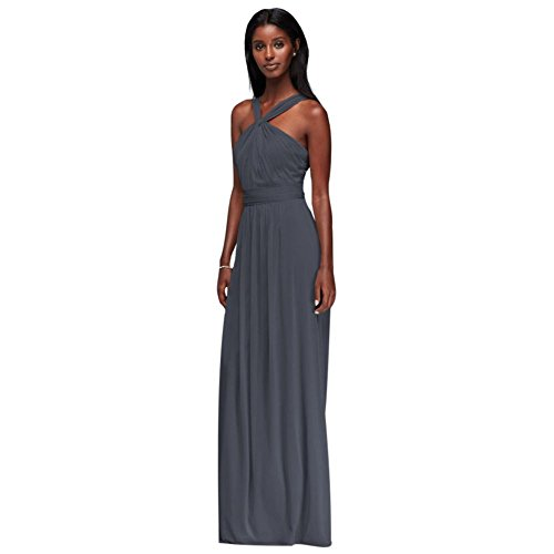 David's Bridal Y-Neck Long Mesh Bridesmaid Dress Style W11173, Pewter, 10