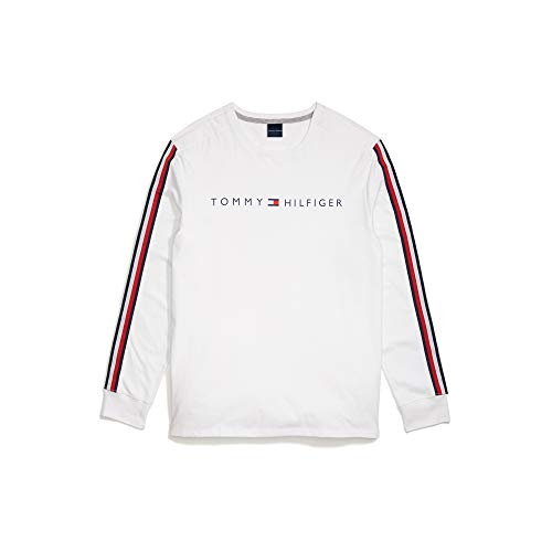 Tommy Hilfiger Men's Adaptive Long Sleeve T Shirt with Velcro Brand Closure at Shoulders, Bright White-PT, XL