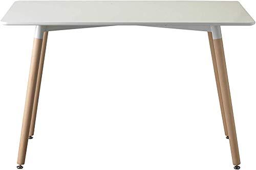 Mesa de comedor blanco de 120x70x72cm con patas de madera,White and wooden