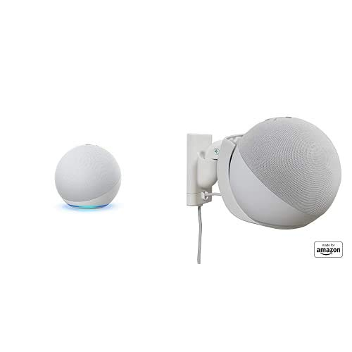"""Echo (4th Gen) bundle with""""Made for Amazon"""" Mount for Echo - Glacier White"""