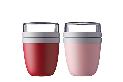 Mepal Lunchpot Ellipse 2-er Set Lunchbox (Nordic Red - Nordic Pink)