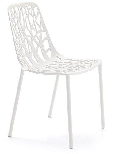 Forest Fast Stapelbarer Stuhl Aus Aluminium-Druckguss Art 6501 Farbe Weiß