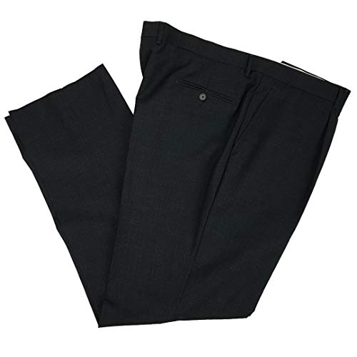 N+1 Pantalone Uomo Classico in Fresco Lana Elegante Vita Alta Gamba Larga Taglie Forti Calibrato (75(150cm) - Grigio Scuro)