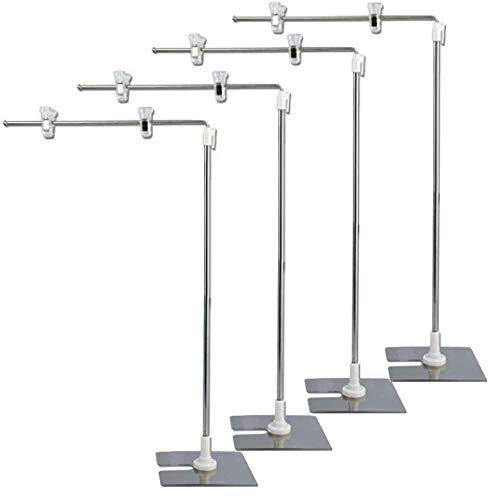 高さ調節可能、ステンレス製 クリップ式 L型POPスタンド ポップスタンド (4本セット)