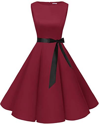 Bbonlinedress 50s Vestidos Vintage Retro Rockabilly Clásico Dark Red L