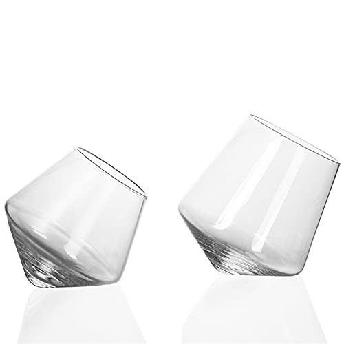 Cristal Whiskey Glass Ultra Claro Spinning Top Decanter Vino rápido Whisky Beer Beber Home Bar Party Chenhuanbakeyji (Capacity : 201 300ml, Color : 300ml 2pcs)