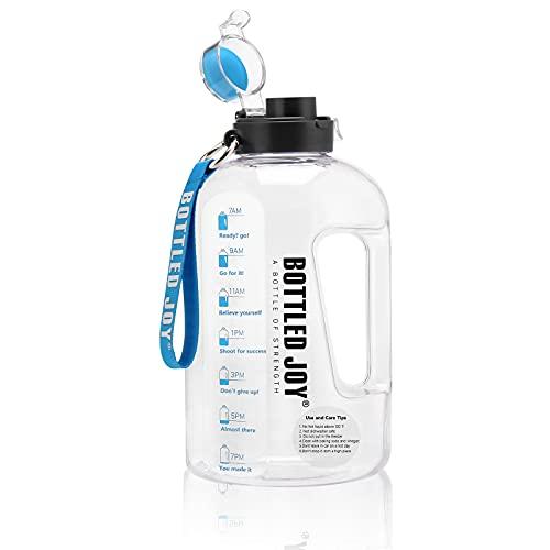 Botella de agua de 2,5 l, con rastreador de tiempo, botella de agua con infusor de fruta para deportistas.
