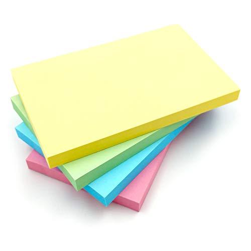 Blocchi di foglietti adesivi rimovibili, colori pastello, 76 mm x 127 mm, 100 fogli per blocco, confezione da 8 blocchi